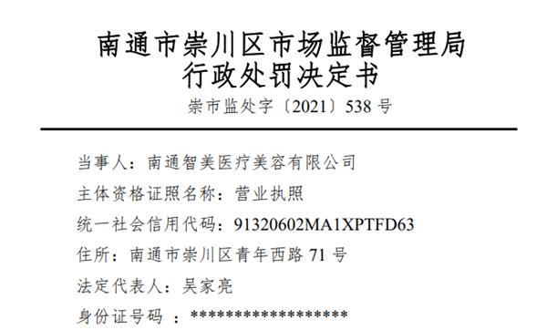 """南通智美医疗美容使用""""未取得药品批准证明文件""""九价HPV疫苗 被罚18万元"""