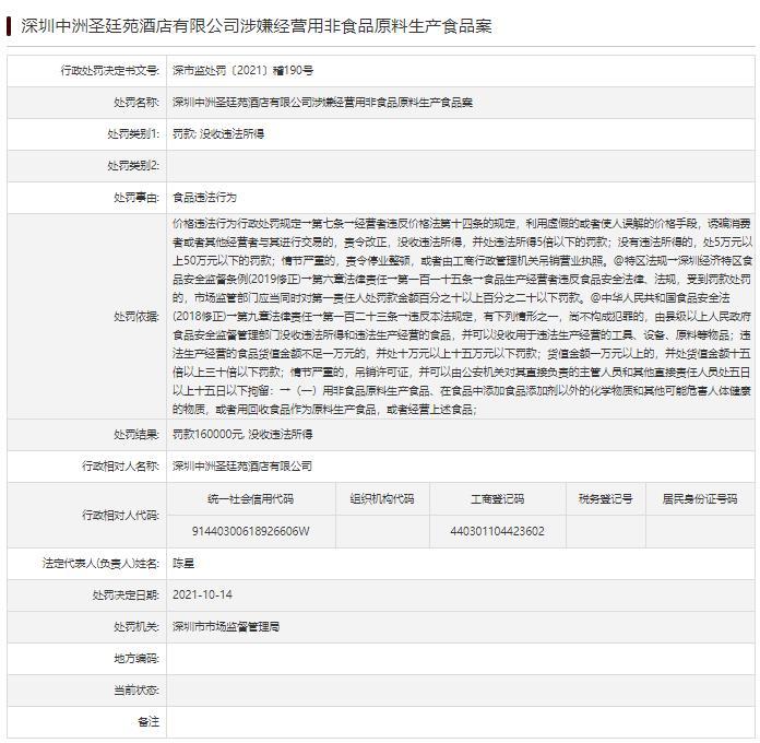 圣廷苑酒店因食品违法行为被罚16万 属中洲控股旗下