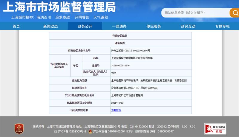 奈雪的茶上海一门店被市场监管罚款:有茶饮检出菌落总数不合格