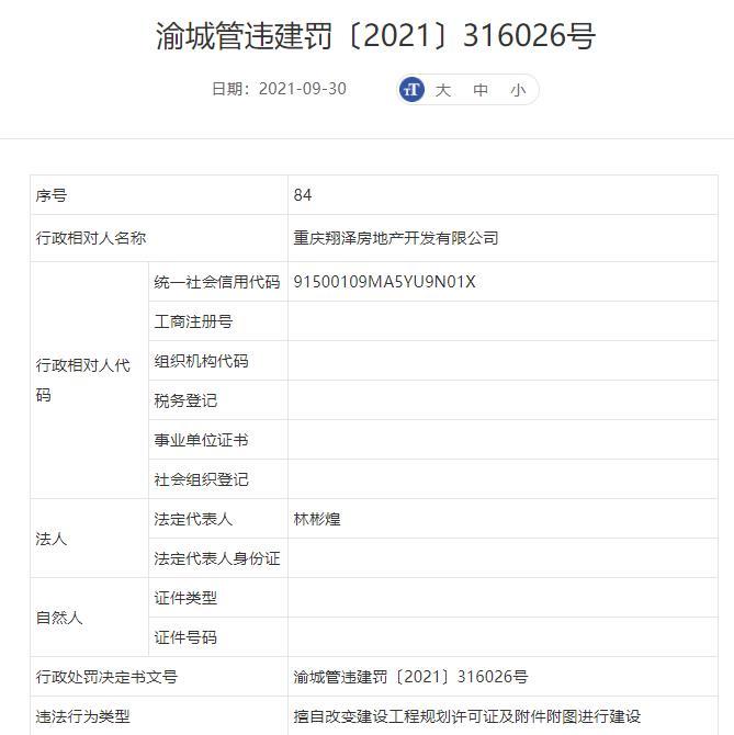 重庆翔泽房地产公司违法建设被罚 为禹洲集团子公司