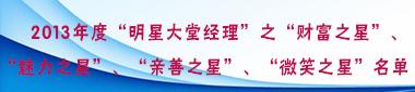 """2013年度""""明星大堂经理""""之""""财富之星""""、""""魅力之星""""、""""亲善之星""""、""""微笑之星""""名单"""