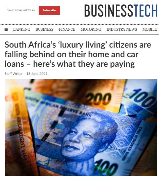 大量南非富裕阶层开始拖欠贷款