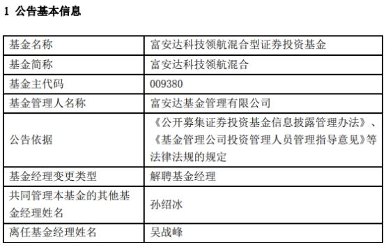 吴战峰离任富安达科技领航混合 孙绍冰独立管理