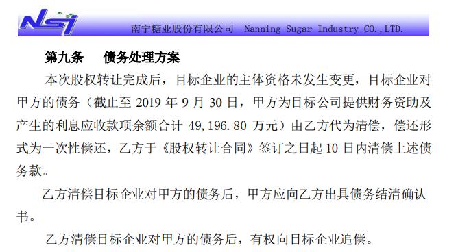 "*ST南糖1元甩卖子公司75%股权 受让方承诺10天归还关联借款4.92亿""救命钱"""
