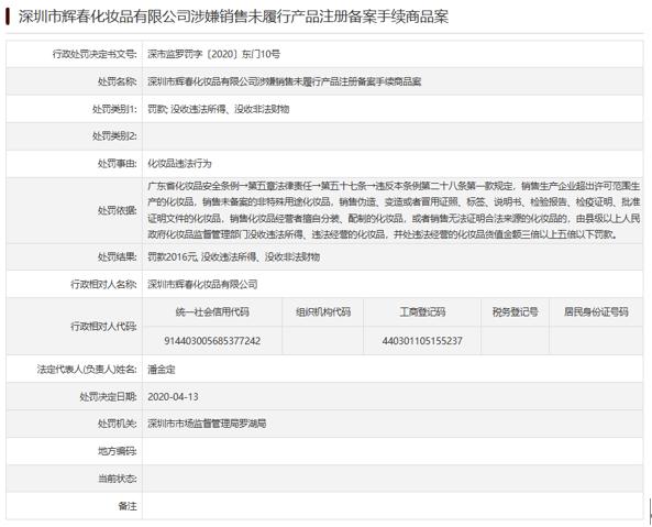 """#中国网财经#深圳市辉春化妆品公司销售""""违规化妆品"""" 被罚"""