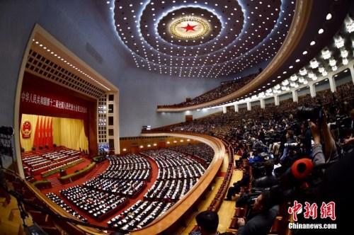 3月5日,十二届全国人大五次会议在北京人民大会堂开幕。<a target='_blank' href='http://www.chinanews.com/' _fcksavedurl='http://www.chinanews.com/'></table>中新社</a>记者 金硕 摄
