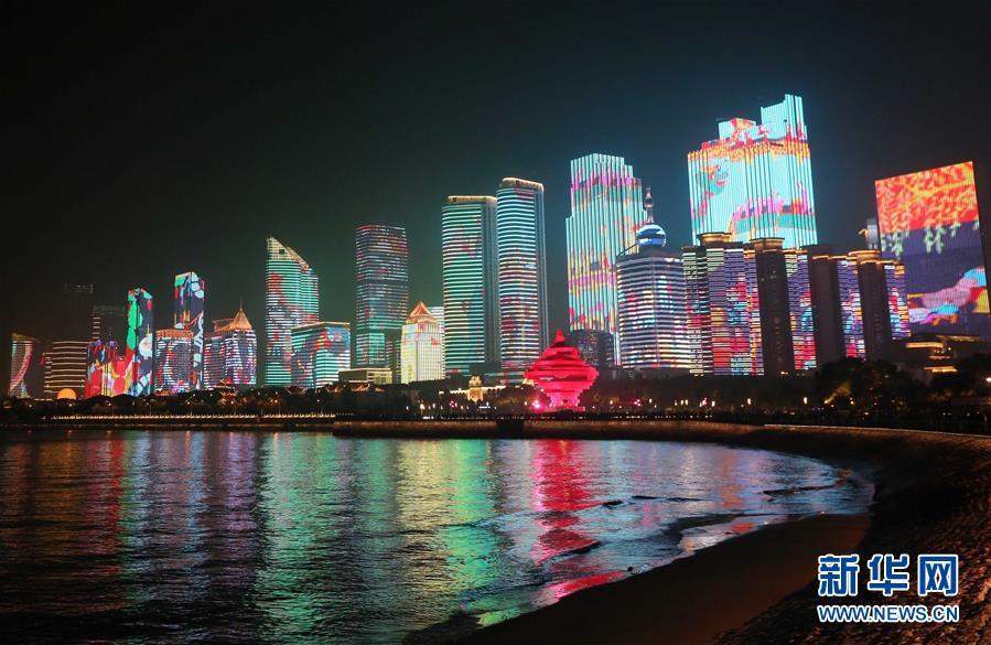 (上合青岛峰会·XHDW)(33)灯光焰火艺术表演在青岛举行