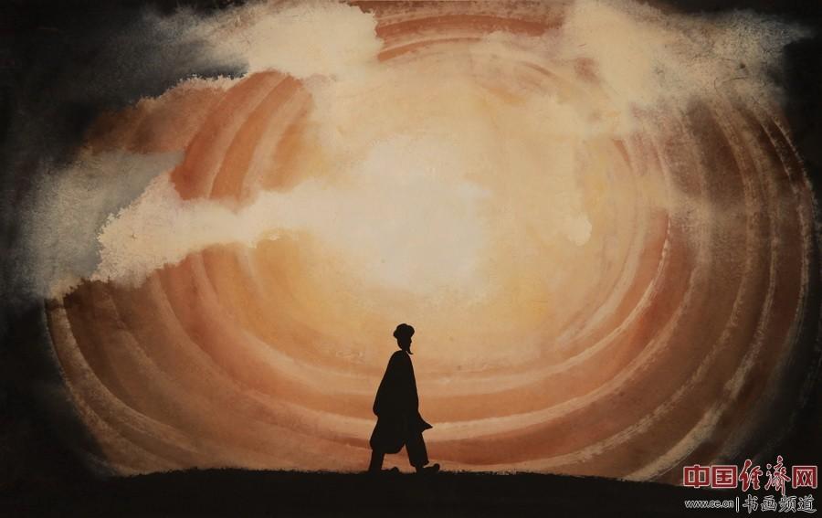 """何�F熹绘画作品,赏析诗歌:""""千里赴归程,万古会元通。道心应物外,天国法音鸣。――顾国平"""""""