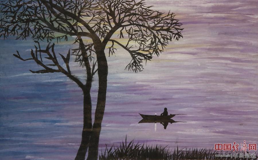 """何�F熹绘画作品,赏析诗歌:""""紫梦清纱笼含烟,夕阳隐隐催暮船。罗浮括苍神仙地,婀娜一树抚长天!――顾国"""