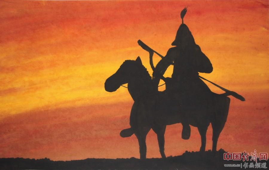 """何�F熹绘画作品,赏析诗歌:""""大漠晚霞红,将军马上弓。壮怀何激烈,平寇傲苍穹。――顾国平"""""""