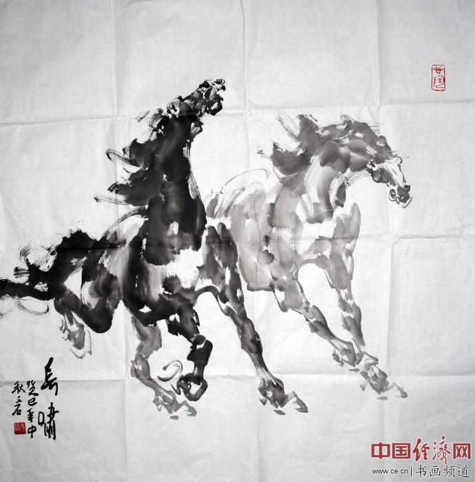 冯磊国画《长啸》