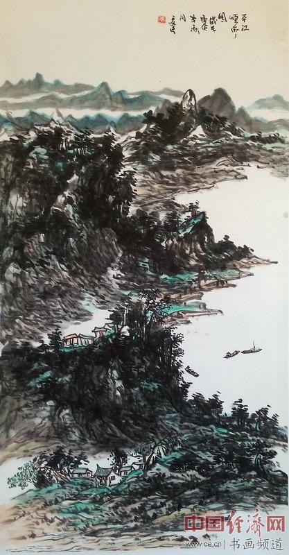 冯三逢山水国画《平江烟雨图》