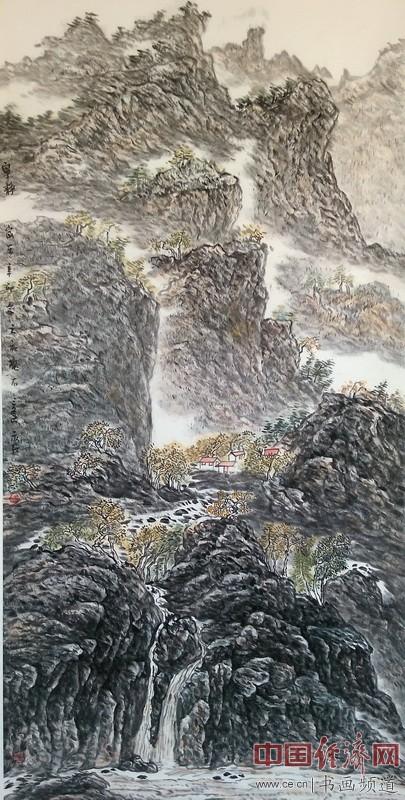 冯三逢山水国画《宁静》