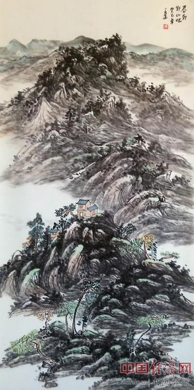 冯三逢山水国画《春到野山坡》