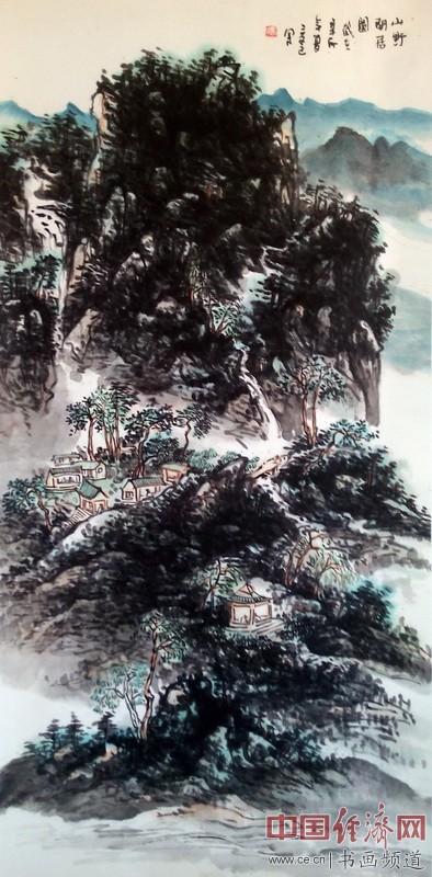 冯三逢山水国画《山野闲居图》
