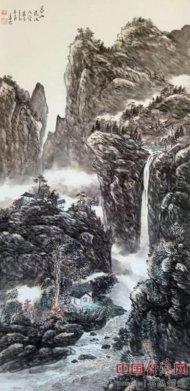 冯三逢山水国画《高山流水人家》