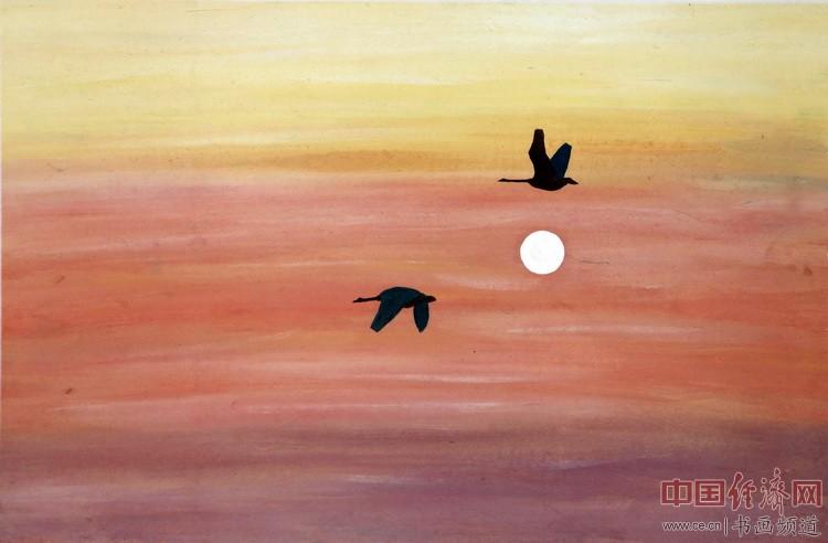 大雁双飞秋意浓,夕阳美好共长空;此去前方无歧路。一品为何�F熹(Anika He)绘画配诗