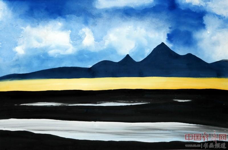 巍巍峭峰岩千仞,熠熠金光��长空,此山一日经四季,西去万里是珠峰。一品为何�F熹Anika He画配诗