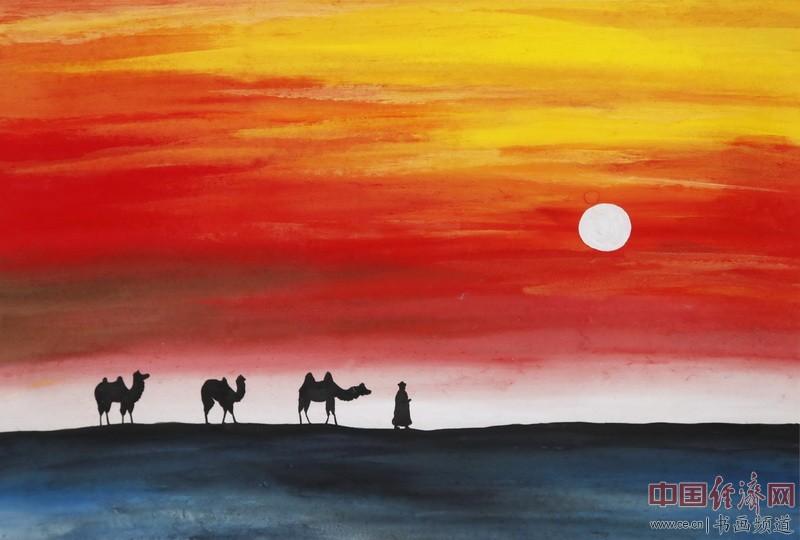 画家何�F熹(Anika He)彩色绘画《太阳慢慢升起》