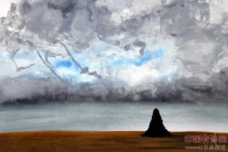 画家何�F熹(Anika He)彩色绘画《孤魂葬长空》