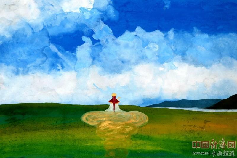 画家何�F熹(Anika He)彩色绘画《金鱼公主》