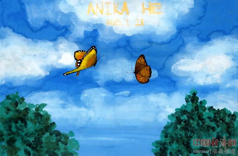 画家何�F熹(Anika He)彩色绘画《蝶之恋》