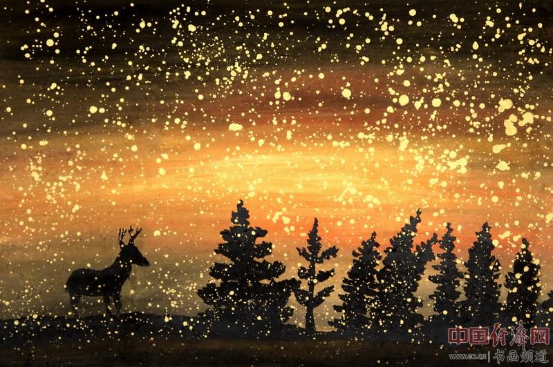 画家何�F熹(Anika He)彩色绘画《星空中麋鹿》