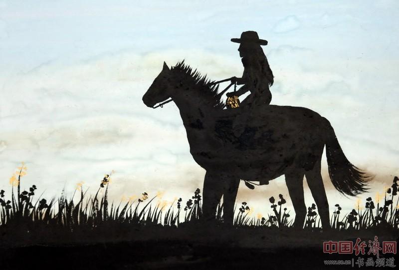 画家何�F熹(Anika He)彩色绘画《骑马的何�F熹》中熹何璧Anika He