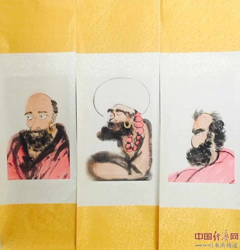 何�F熹(Anika He)作品达摩三兄弟由台湾中华全球洪门联盟总会长刘会进收藏