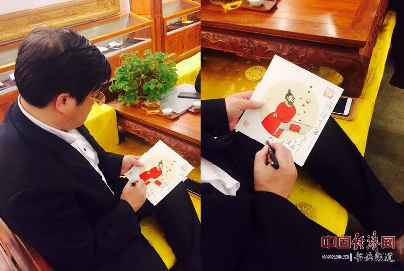 中国美术家协会党组副书记、秘书长徐里在何�F熹(Anika He)绘画上题字