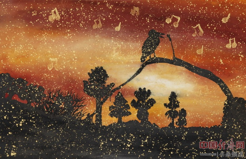 中熹何璧AnikaHe画派画家何�F熹(Anika He)彩色绘画作品《夜莺》