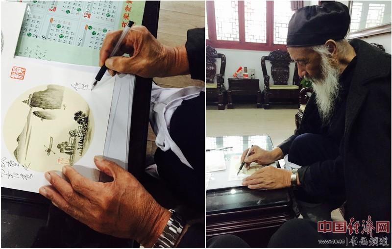 任法融在何�F熹(Anika He)绘画上书写:《笔功青秀,神韵实足》。Farong Ren