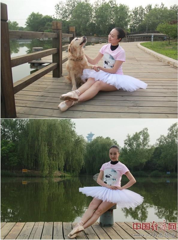 芭蕾舞教师马宁身着何�F熹(Anika He)的艺术延伸品T恤