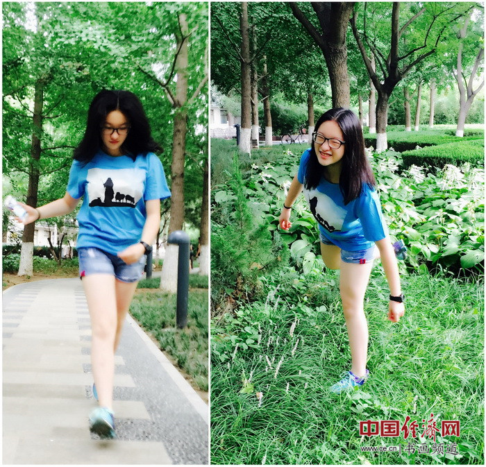北京市第二十二中学刘畅同学身穿何�F熹(Anika He)的艺术延伸品T恤