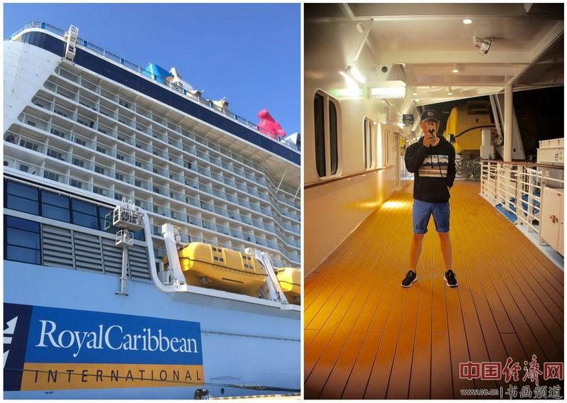 """""""穿着艺术去旅行"""",造型师唐明锋身着何�F熹(Anika He)创作的艺术延伸品衣服在亚洲最大邮轮上。"""