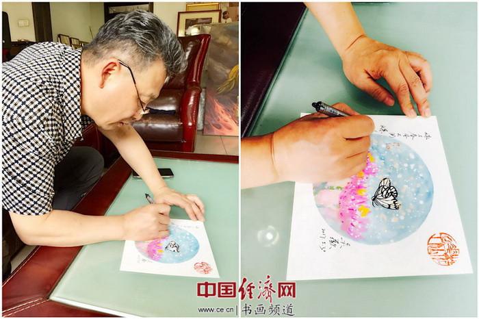 吴欢在何�F熹(Anika He)绘画上书写:《嫁与春风不用媒》。