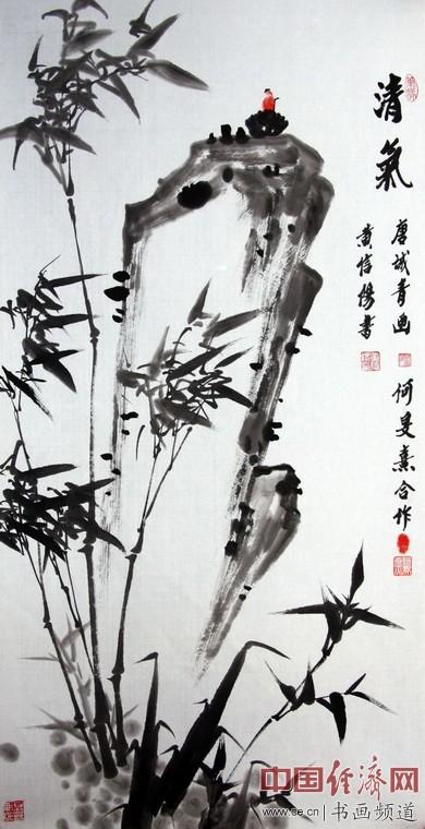 中国道教协会副会长唐诚青画,中国道教协会副会长黄信阳书,艺术家何�F熹(Anika He)合作。