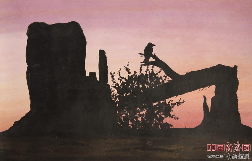 虫蛀树中空,树断鸟吃虫。紫梦余晖下,高岗问苍冥。顾国平为何�F熹绘画配诗