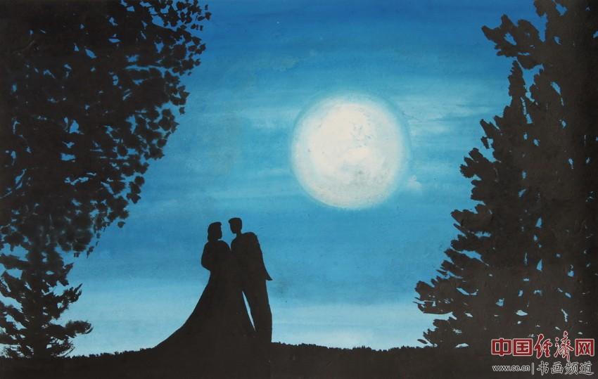 《云月》:长天碧水云织月,万里山朦风起歇。最是传情你与我,流年探问花逢蝶。清��为何�F熹绘画配诗