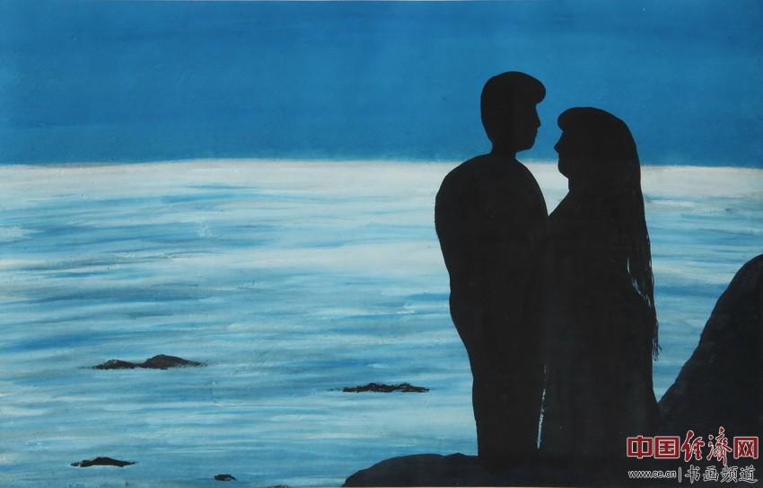 倾心意荡漾,极顶惜残阳。云海寄情谊,我俩共翱翔。顾国平为何�F熹绘画配诗