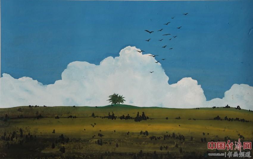 野旷天低任�O翔,绿树白云映心上。佛光普照十方界,法雨均润众生旺。宋汉晓为何�F熹绘画配诗