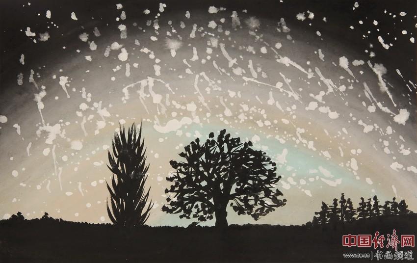 华灯初上不夜天,天高气爽星璀璨。法雨均润十方界,明心见性方识禅。宋汉晓为何�F熹绘画配诗