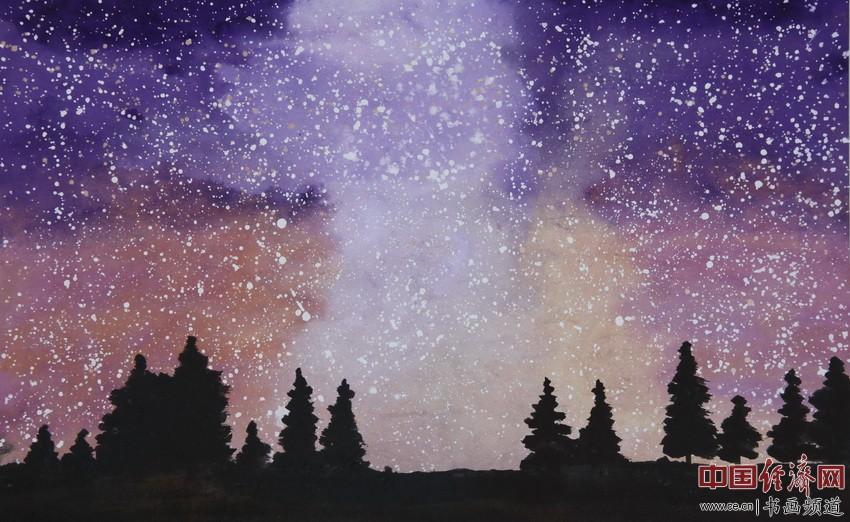 茫茫天地意何深?万古流光未沉沦。撑天大木犹坚劲,紫雾飞花笼乾坤。 顾国平为何�F熹绘画配诗。