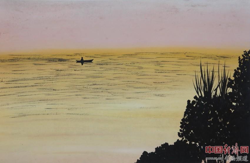 心静不起浪,万般皆随缘。苦海一叶舟,念佛多行善。宋汉晓为何�F熹绘画配诗。