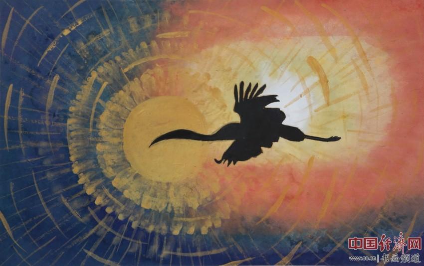 心怀无量光,轻盈如飞雁。众生发善心,成佛十界欢。宋汉晓为何�F熹绘画配诗。