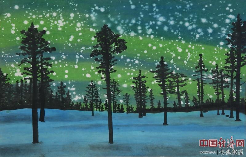 著名女画家何�F熹(Anika He)圣诞节题材绘画 中国经济网记者李冬阳摄