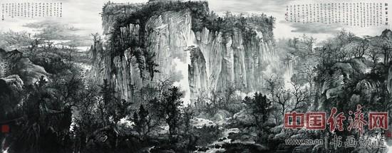 周逢俊国画《江南第一峰赋》(366cmx144cm)