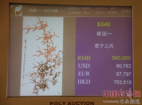 崔国一国画56万元成交于北京保利第27期精品拍卖会 李玉生摄