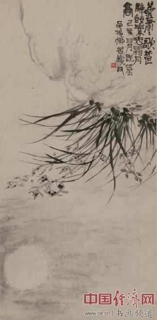 吴昌硕《兰花月影》,创作于1899年