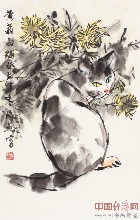 国画大家苏民范画猫